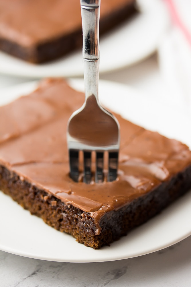 fork sticking into a chocolate cake