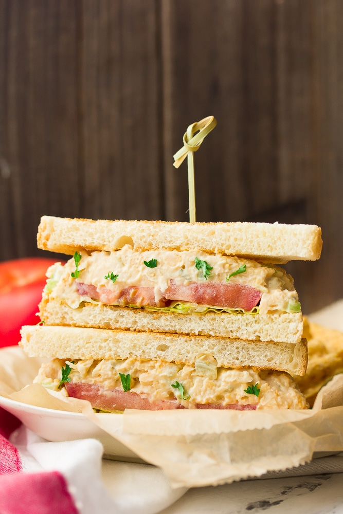 sandwich with tuna like spread and tomatoes