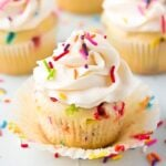 square image of a cupcake with sprinkles