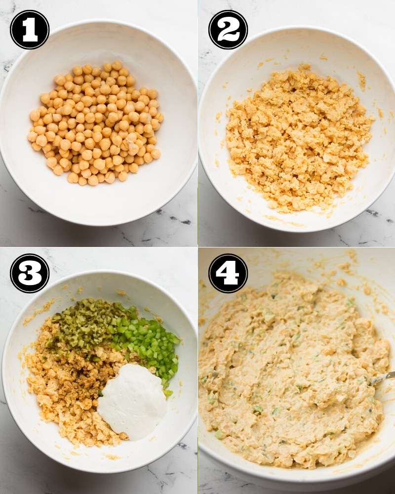 collage of how to make vegan tuna salad