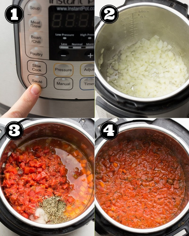 collage of how to make instant pot tomato soup