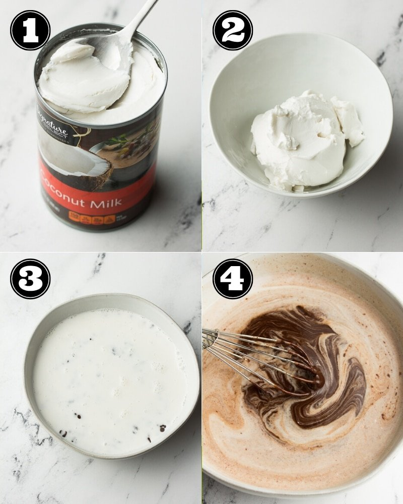 collage showing how to make chocolate ganache with coconut cream