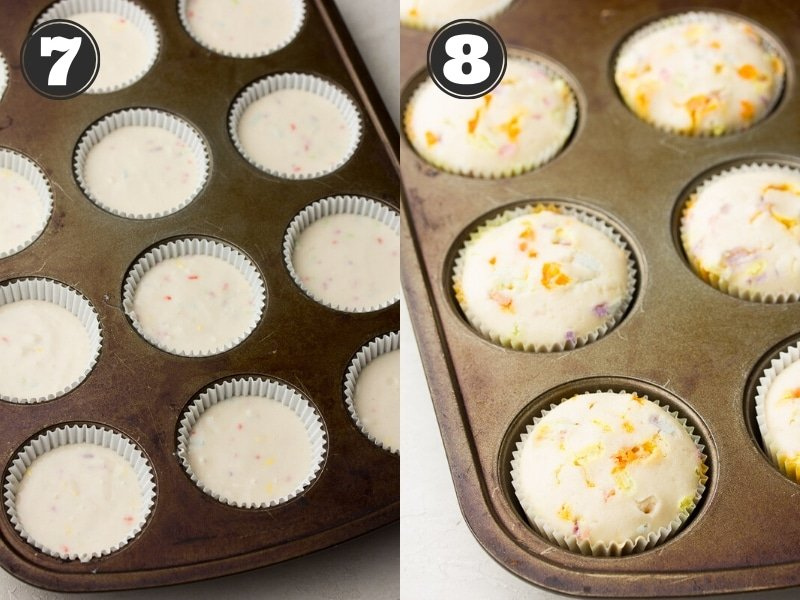 showing uncooked then cooked cupcakes in a pan