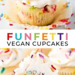 Pinterest collage with text of funfetti vegan cupcakes