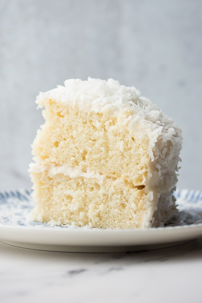 piece of coconut cake standing up, shot from side, grey background