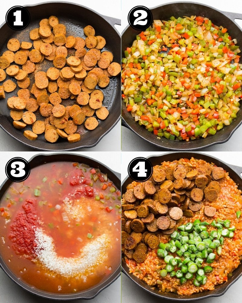 collage of how to make jambalaya step by step