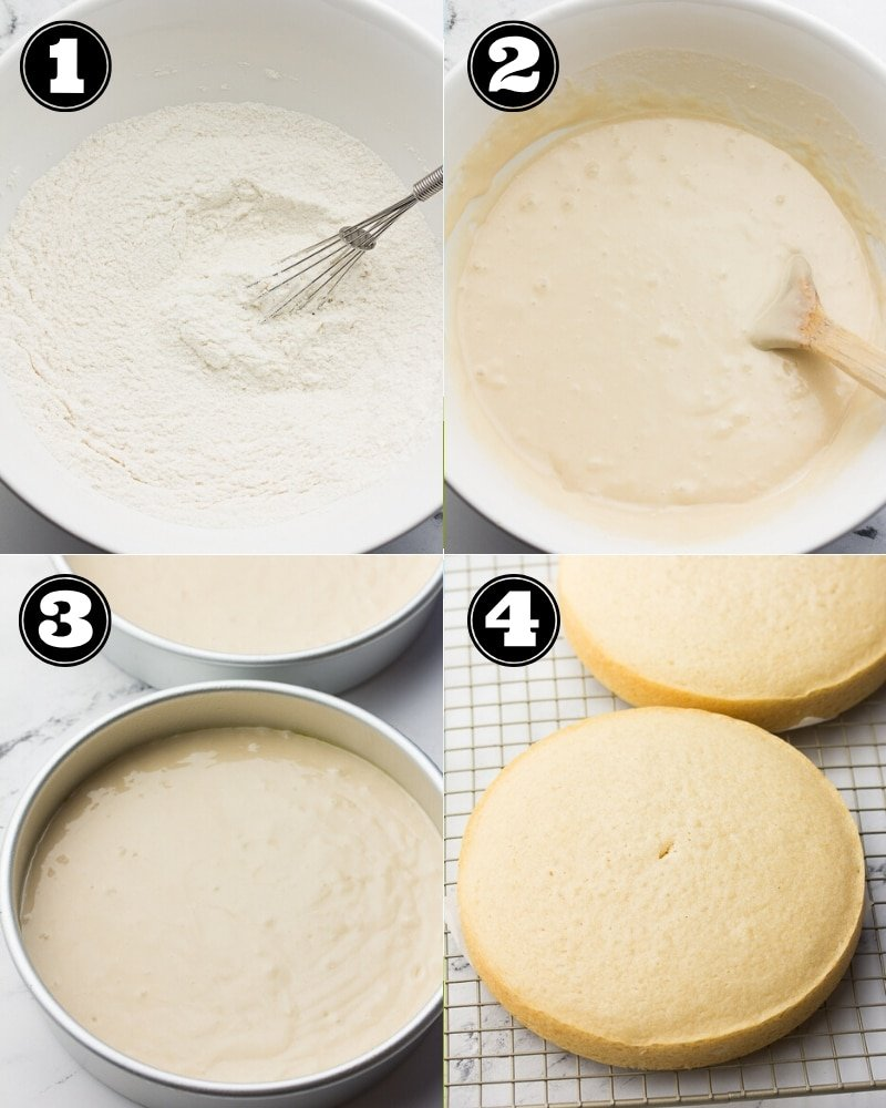 collage of how to make vegan coconut cake