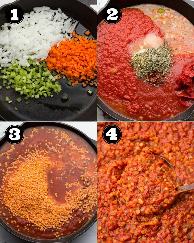 collage of how to make lentil bolognese in 4 steps