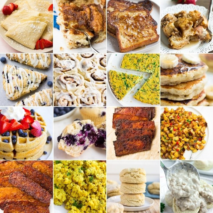 collage of breakfast/brunch recipes