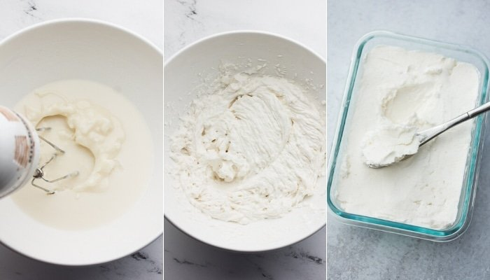 photo collage showing whipping butter process
