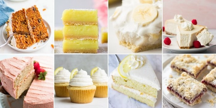 collage of desserts