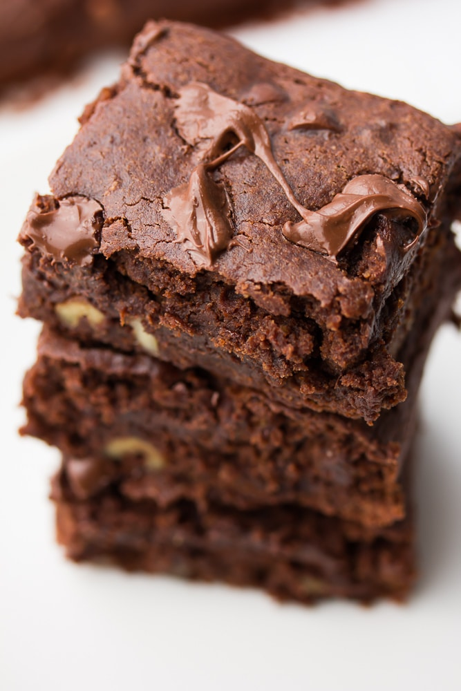 close up image of three brownies