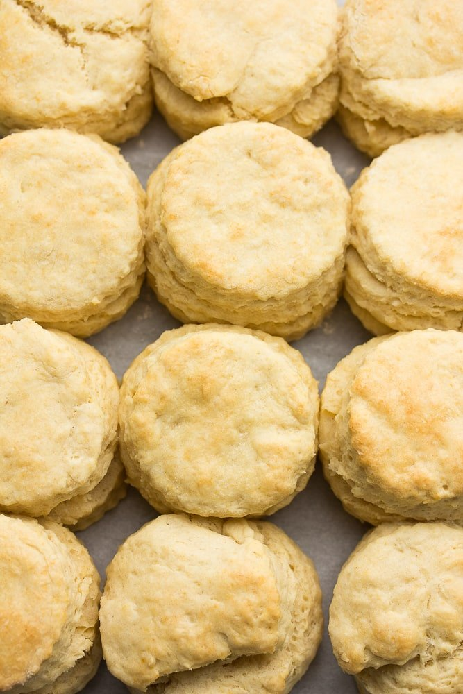 an overhead shot of a pan full of biscuits