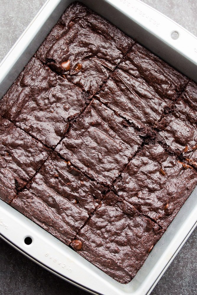 looking down on a pan of crinkly brownies, cut in pan