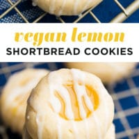pinterest collage of vegan lemon shortbread cookies with writing