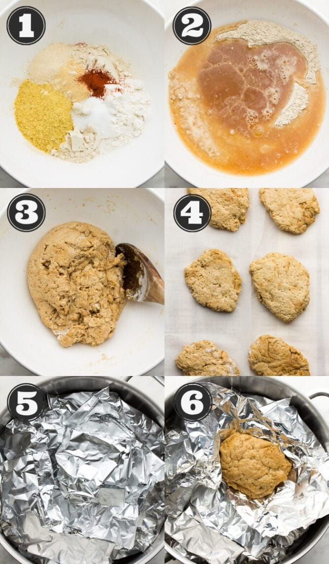 collage of how to make seitan chicken