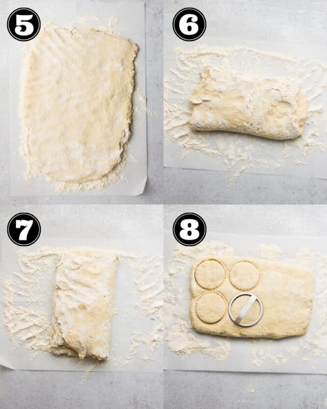 collage of how to roll out the dough to make biscuits