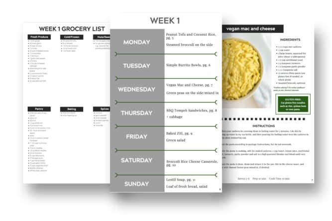 Preview pages of vegan ebook