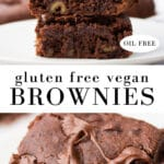 pinterest collage of gluten free vegan brownies with text
