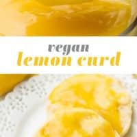 Pinterest collage with text vegan lemon curd