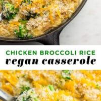 pinterest collage of chicken broccoli rice vegan casserole