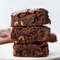 square image of three brownies with walnuts