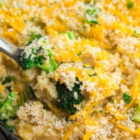square image of a close of shot of chicken broccoli vegan casserole