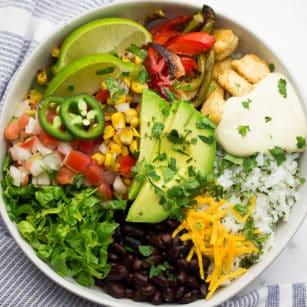 square image of burrito bowl like Chipotle