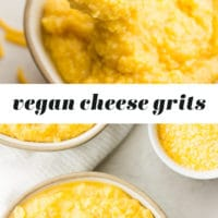 Pinterest collage with text of cheese grits