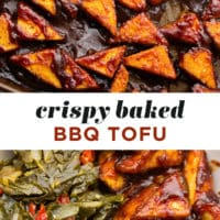 "Pinterest collage with text reading ""crispy baked bbq tofu"""