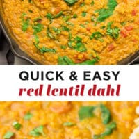 Pinterest collage with text of red lentil dahl