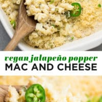 Pinterest collage with text of jalapeno mac and cheese
