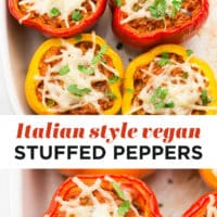 Pinterest collage of Italian style vegan stuffed peppers
