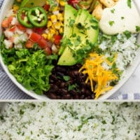 collage of vegan burrito bowl with text