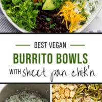 Pinterest collage with text of burrito bowl