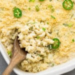 square image of pan of mac and cheese with jalapenos