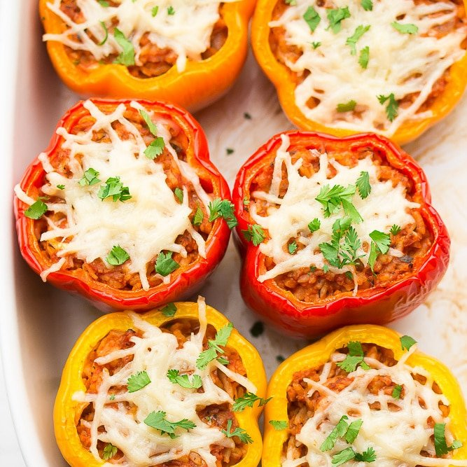 square featured image of 6 peppers with stuffing, cooked