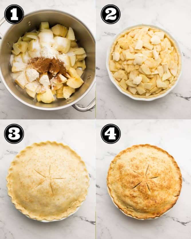 collage of how to make apple pie step by step