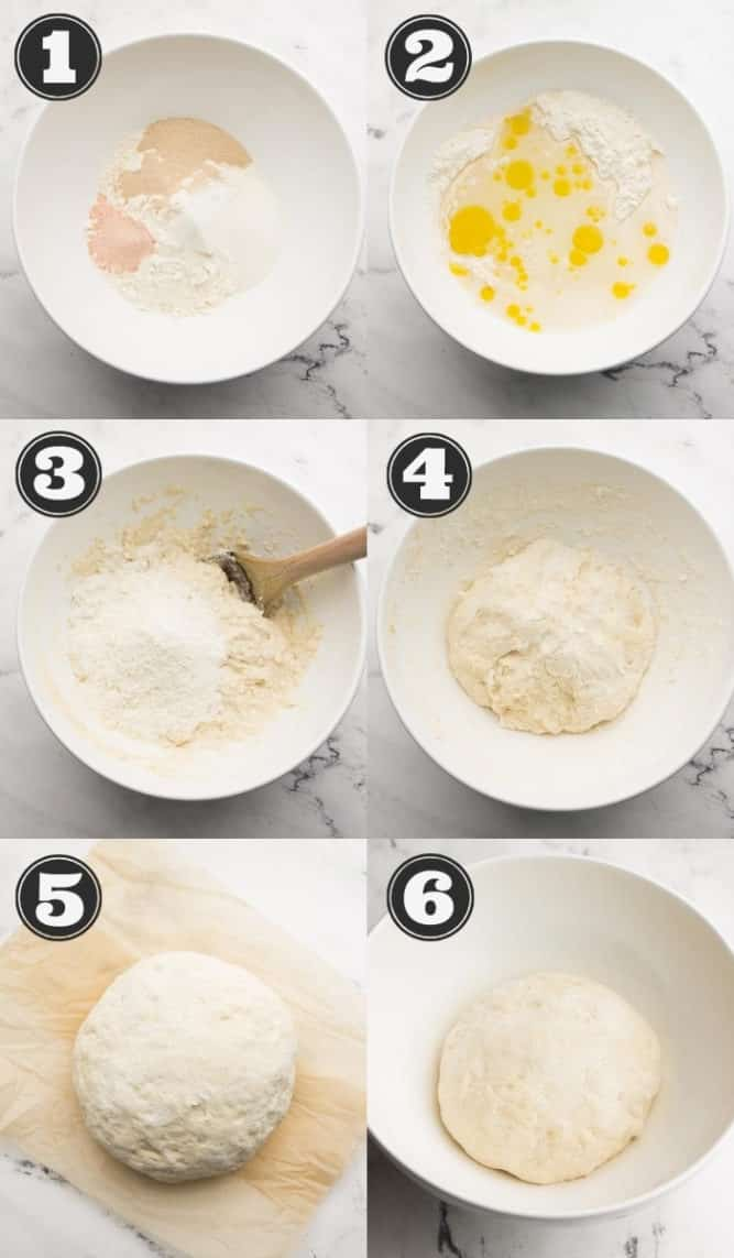 6 pictures of the steps to making homemade pizza dough