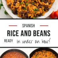 Pinterest collage with text of rice and beans