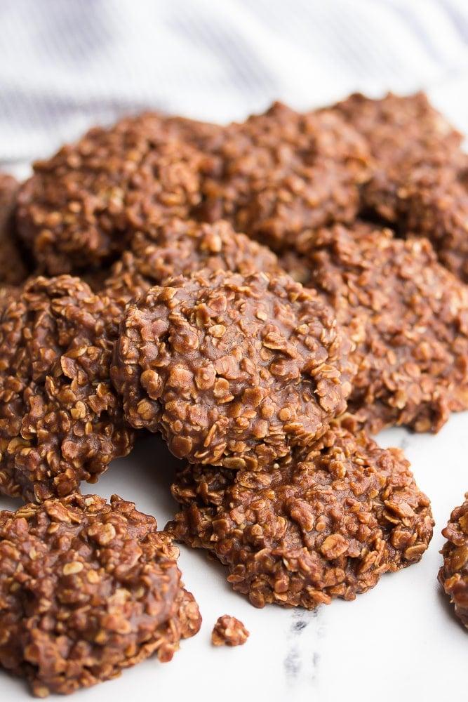 Close up of a pile of vegan no bake cookies
