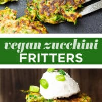Pinterest collage with text of vegan zucchini fritters