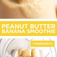 Pinterest collage with text of a smoothie with bananas and peanut butter