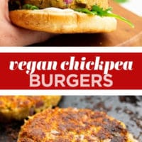 Pinterest collage with text of chickpea burger