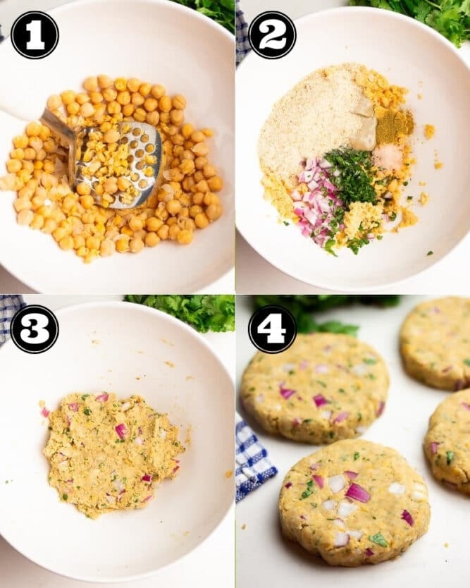 collage of how to make chickpea burgers step by step