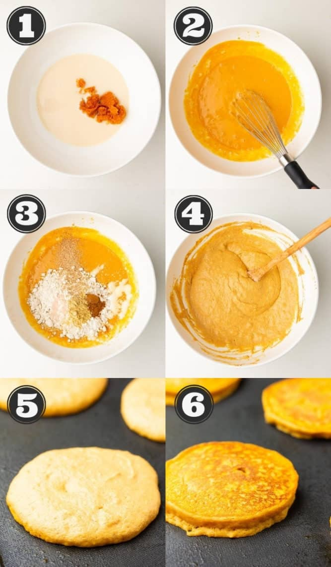 collage of how to make pumpkin pancakes