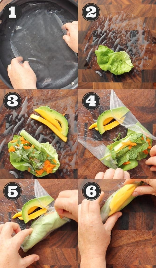collage showing how to roll up spring rolls