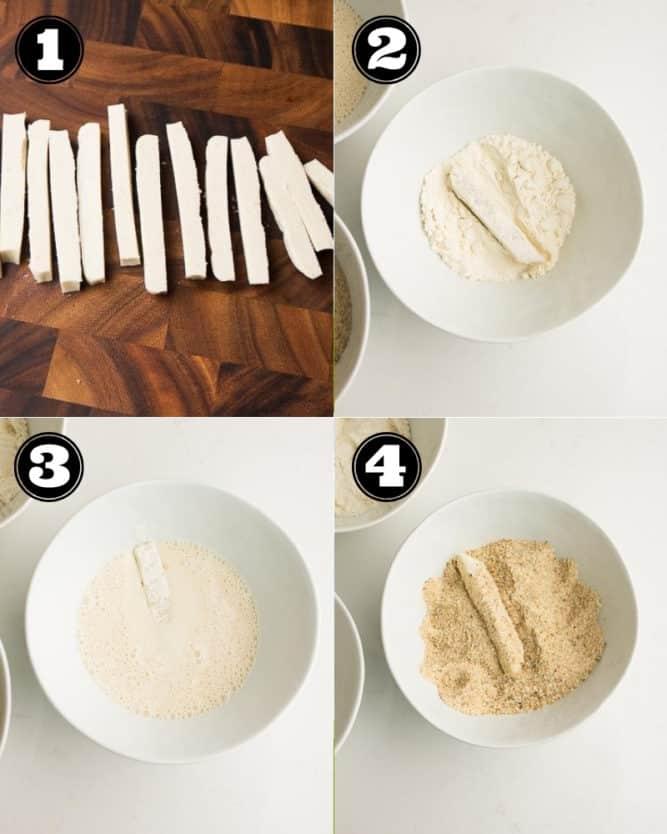 collage of steps to make mozzarella sticks