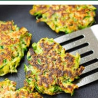 pinterest image with text of zucchini fritters, vegan