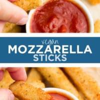 Pinterest collage with text of vegan mozzarella sticks